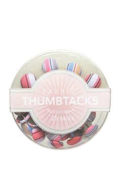 Dress up your bulletin board with these cute fabric thumbtacks! Available in 4 different sets. Due to fabric variations patterns will vary from tack to tack. 25 tacks per set.  Stripe Fabric Thumbtack by Girl of All Work. Home & Gifts - Gifts - Stationery & Office California