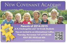 Springfield Moms Newsletter:  New Covenant Academy Informational Coffee Event- Thursday, November 14th; 9:30am for parents of preschoolers- 1st graders!!