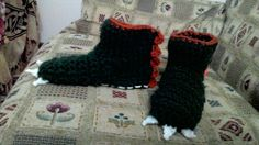 Pantofole dinosauro all'uncinetto - Dino slippers