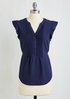 Work Appropriate Styles in Plus Sizes - Expert in Your Zeal Top in Navy