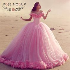 Find More Wedding Dresses Information about Romantic Floral Off the Shoulder Pink Wedding Dress with Handmade Flower Train Puffy Princess Ball Gown Fairytale Dress,High Quality wedding dresses with belts,China wedding dress with collar Suppliers, Cheap wedding gift ideas for kids from Suzhou Rose Moda Couture Co., Limited on Aliexpress.com