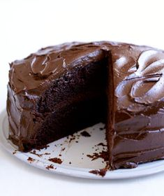 Old-Fashioned Chocolate Cake with Chocolate Ganache Frosting! A classic!