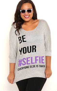 Deb Shops Plus Size Slash Back Dolman Top with Be Your Selfie Screen $23.00