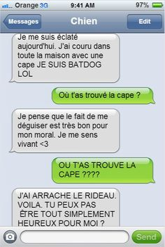 Demotivateur If your dog could write texts, he would surely send you messages like these . It's excellent! Funny Images, Funny Photos, Funny Texts, Funny Jokes, Sms Jokes, Haha, Funny True Quotes, Batman, Good Jokes