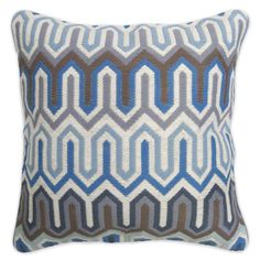 Jonathan Adler Blue And Grey Bargello Chevron Pillow in All Pillows And Throws