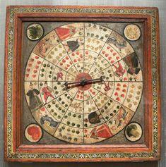 Brett für ein Zeiger-Roulette, oberdeutsch, um 1580 Buchenholz, bemalt mit Wismuth und Tempera Bayerisches Nationalmuseum, München, Inv. Nr. I 14 104