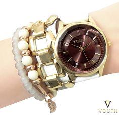 Relógio Bracelete de Couro Feminino  Visite nossa FanPage : https://www.facebook.com/Passarella-Brasil-212170078859412/?fref=ts  Visite nosso site: www.passarellabrasil.com.br   #passarellabrasil  #relógiovouth  #vouth