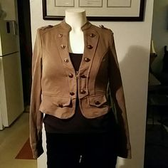 Retro tan Jacket. Zip up short jacket with copper buttons. 60% Cotton and 40%Polyester. Fits XS/Small. Ali & Kris Jackets & Coats
