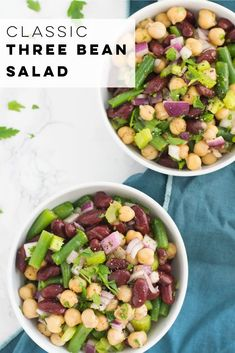 Three bean salad features kidney beans, chickpeas, and green beans! Paired with a tangy dressing recipe, it's the perfect side dish! #threebeansalad #vegansidedish #gfsidedish #threebeansaladrecipe | Mindful Avocado