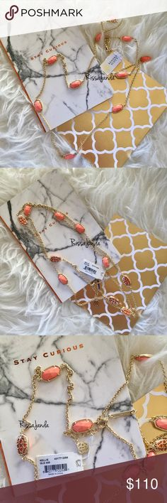"""Kendra Scott Kellie in Coral •14K Gold Plated Over Brass •Size: 0.63""""L x 0.38""""W stones, 40"""" chain with 2"""" extender • Lobster claw closure • Material: coral magnesite* Kendra Scott Jewelry Necklaces"""