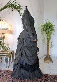 Striped Silk Day Dress, ca. 1875