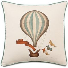 ShopStyle: Hermes Hand-Painted Hot Air Balloon Decorative Pillow with Cording