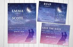 Wedding under the stars PRINTABLE invitation set romantic magical night - pinned by pin4etsy.com