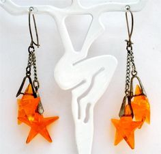 Art Deco Sterling Silver Earrings Orange Star Crystal Dangle Pierced Antique | eBay