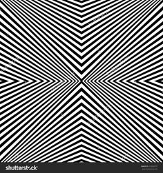 Seamless pattern with symmetric geometric ornament. Sharp black curves on white background. Op art style wallpaper. Vector abstract illustration