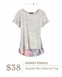 Stitch Fix: Honey Punch Seaside Mix Material Top - perfect casual piece with pretty girlie details. <3 the colors.