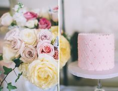 Feminine French Wedding Inspiration - pretty pink cake