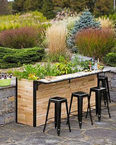 Reclaimed Wood Outdoor Bar + Tall Planter   Patio Plant-a-Bar 2'x8'