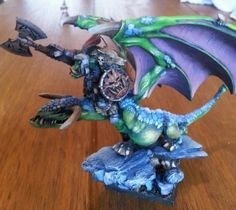 Warhammer-orruk-orc-warboss-on-wyvern-stunningly-pro-painted