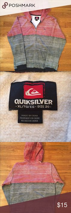 Quiksilver Hooded Sweatshirt Red, White and Blue hooded zip sweatshirt. Quiksilver Shirts & Tops Sweatshirts & Hoodies