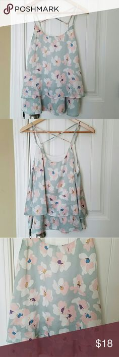 Illa Illa Floral Tiered Tank Double tier flowy tank top. Has criss crossed back straps. The soft colors are perfect for spring.   Excellent condition. No trades. Illa Illa Tops Tank Tops