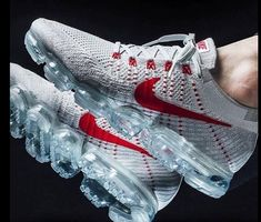 74f60ab6ff Get Best UA Nike Air Vapormax Flyknit Pure Platinum University Red Shoes  Online