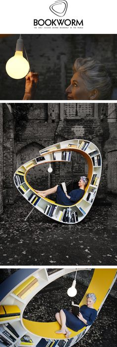 Bookworm - The only cocoon shaped bookshelf in the world - by Atelier 010