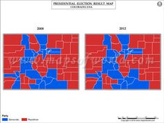 Dist of Columbia Election Results Map 2008 Vs 2012 | US Presidential ...