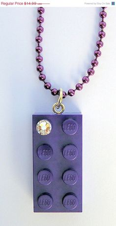 ON SALE Purple LEGO R brick 2x4 with a Diamond by MademoiselleAlma, $10.49