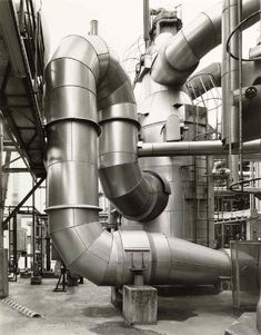 Bernd and Hilla Becher, sheet metal duct. Hilla Becher, Art Alevel, Marine Engineering, Industrial Architecture, Surrealism Painting, Industrial Photography, Building Art, Documentary Photographers, Built Environment