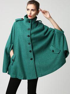 Escudo Teal del cabo, cabo de lana, abrigo de lana turquesa, invierno Poncho, ponchos de mujeres, militares de la capa, manto, encargo ropa, regalo para su (1129)