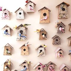 Cute :) - Lots of birdhouses on a wall