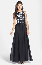Hailey by Adrianna Papell Sequin Bodice Chiffon Gown