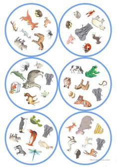 Games in German lessons: Dobble - Animals cards / 8 p Teach English To Kids, English Worksheets For Kids, English Games, English Activities, English Book, English Lessons, Space Activities For Kids, Animal Activities, Puzzles For Kids