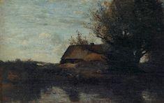 Ferme au bord d'un étang, paysage de Bretagne , 1855–1860. Jean-Baptiste-Camille Corot Landscape Drawings, Landscapes, Corot, Jean Baptiste, Camille, Paris, Painting, Impressionism, Scenery