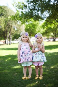 Pink & Mint Carousel Cutie Tunics by Olive Mae Clothing, releasing 4.30.15