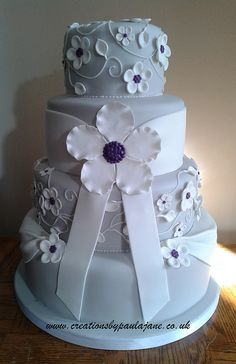 Silver, White & Puple Wedding Cake by Creations By Paula Jane, via Flickr