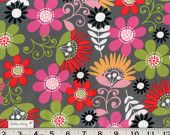 COSMO MEADOW FLOWERS Fabric By the Yard New 100% Cotton Quilting Apparel & Children's Gray Lime Green Pink Orange White Black Red