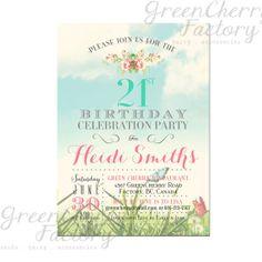21st Adult Birthday Invitation  Summer by GreenCherryFactory, $18.00