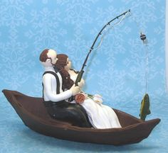Custom Wedding Cake Topper Fishing Theme by MandMClayCreations, $85.00. You can get this customized to look more like yourselves.