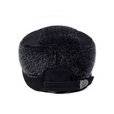 b348455ecc9 Men Earflaps Earmuffs Artificial Mink Fur Flat Baseball Cap Warmer Thicken  Outdoor Casual Hats