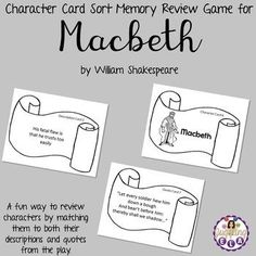 Do your students mix up the characters every time you read a work of literature? Playing a character card sort memory review game will not only help them remember the characters, but it is also a fun and engaging activity. There are 3 types of cards: CharacterCards, Description Cards and Quote Cards. Students needs to match each character with his/her description and a quote that he/she said. High School Literature, British Literature, Ap Literature, School Resources, Teacher Resources, Classroom Resources, Classroom Ideas, Teaching Language Arts, Teaching English