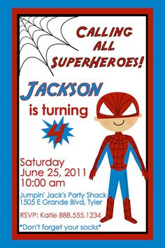 Super Hero Birthday Party Invitation