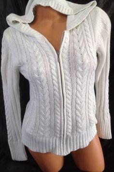 Aeropostale White Sweater Women Medium M Cable Knit Full Zip Hoodie