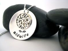 Midwife Necklace, Tree of Life Necklace, Hand Stamped Necklace, Sterling Silver, Midwife Jewelry