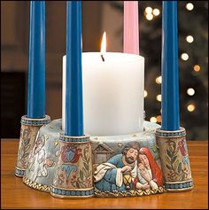 Our Bethlehem Nativity Advent Wreath Tells the Christmas Story of Jesus! A different Nativity Scene is displayed on each side of the Bethlehem Nativity Advent Taper Style Advent Candles Included. Made of Resin. Christmas Advent Wreath, Christmas Candles, Advent Wreaths, Christmas Crafts, Jesus Candles, Pillar Candles, Candle Set, Candle Holders, Advent Candles