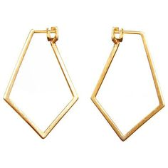 Dutch Basics Ruit Gold Plated Silver Hexagonal Creol Loop Earrings (912.440 IDR) ❤ liked on Polyvore featuring jewelry, earrings, accessories, golden, hexagon earrings, diamond shaped earrings, gold plated silver jewelry, hexagon jewelry and golden earring