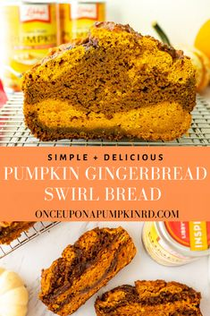 Pumpkin gingerbread swirl bread is a festive spin on pumpkin bread! It's spiced just right, low in sugar and made with an entire can of pumpkin puree! Libby's Pumpkin, Roast Pumpkin, Pumpkin Bread, Pumpkin Puree, Pumpkin Spice, Sugar Pumpkin, Fresh Pumpkin Recipes, Healthy Pumpkin, Best Bread Recipe