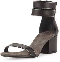 Brunello Cucinelli Monili-Trim Leather City Sandal, Black