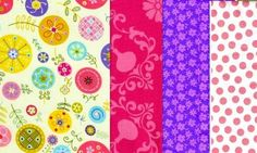 Linda Quilt Fabric Medley Whimsical Fabric Girls Pink Purple 2 Yards | auntiechrisquiltfabric - Craft Supplies on ArtFir